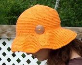 Hand-Crocheted Beach/Summer/Garden Hat - Color Hot Orange