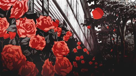 gif red black  white anime horror manga dark flowers