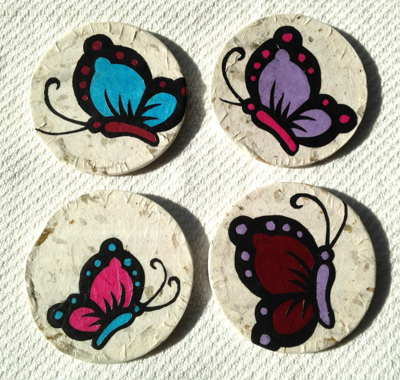 Butterfly Hanji Paper Magnets OOAK Colorful Butterflies Zen Asian Decor Handmade (set of 4) - HanjiNaty
