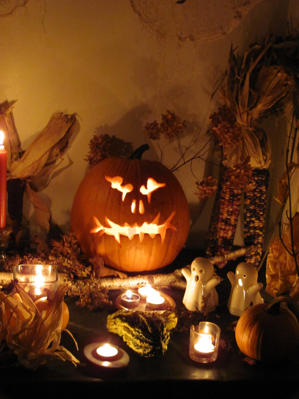 halloween jack-o-lantern and candles