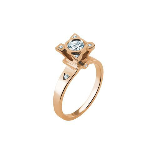 My little white stones Ring with a dimond   La Boutique