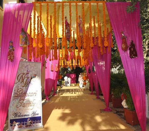 orange and pink rajasthani bhaat ceremony decor   wedding