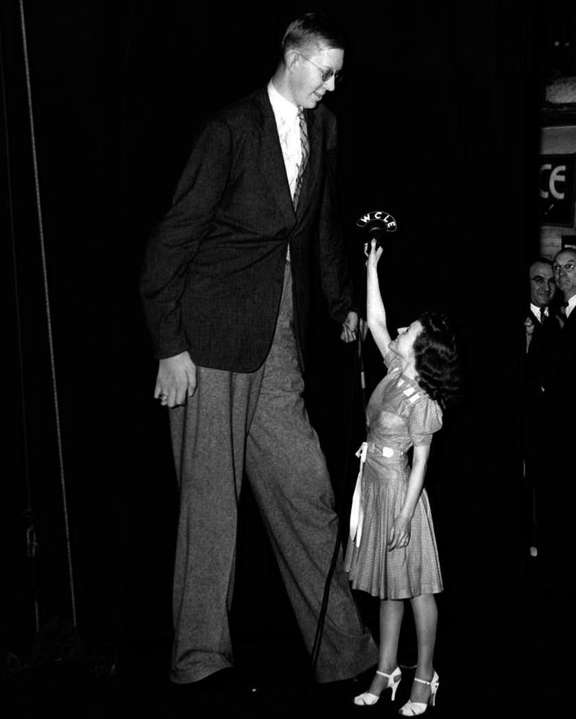 """Known as a """"gentle giant,"""" Wadlow earned money from national public appearances. When asked in a radio interview whether he was annoyed when people stared at him, he calmly replied, """"No, I just overlook them."""""""