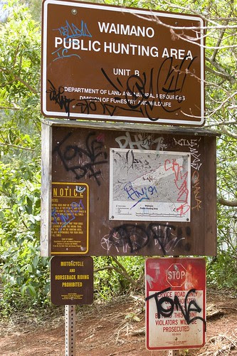 grafiti sign at bottom of manana trail