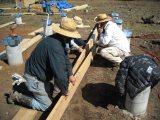 Placing Second 2x10 in Foundation Built-up Beam
