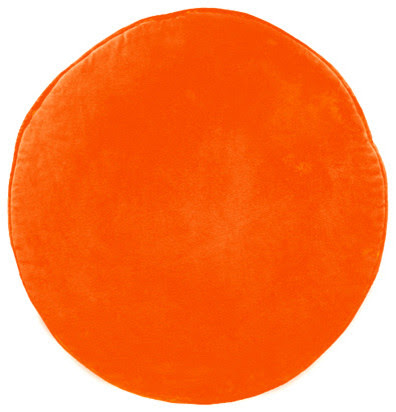 Orange Velvet Penny Round Cushion Cover - contemporary - pillows ...