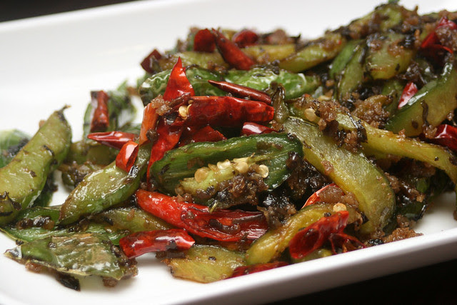 Fried Bitter Gourd with Minced Pork