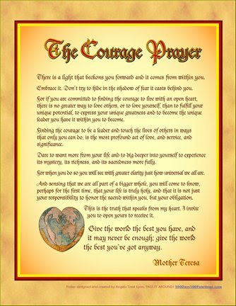 Free Mother Theresa Prayer For Courage Poster