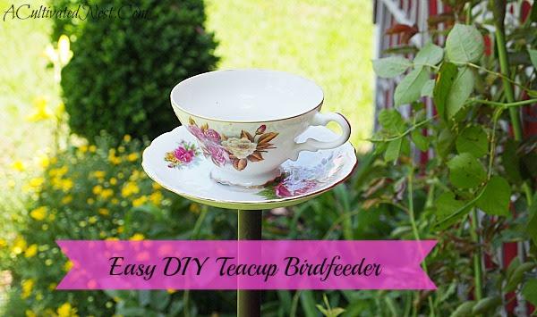 Kolay DIY çay fincanı Birdfeeder