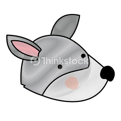 Cabeza De Lobo De Dibujos Animados En Silueta De Color Crayon Arte