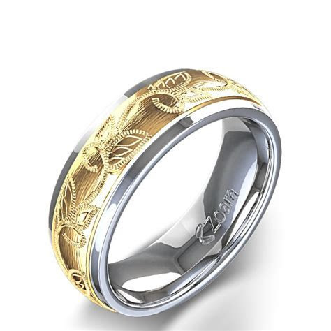 Unique Design Leaf Design Carved Men's Wedding Ring In 14k