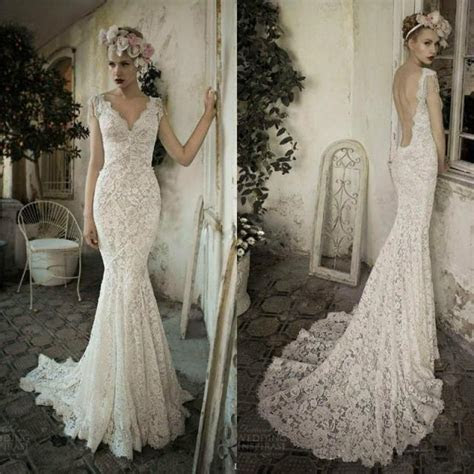 100% Real Picture Mermaid Lace Wedding Dresses Backless V
