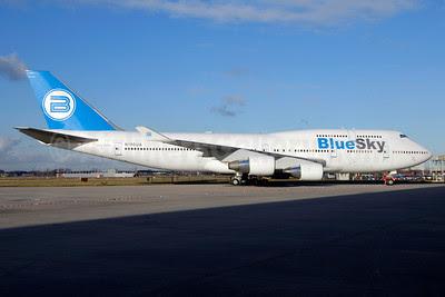 Blue Sky (Blue Airways) Boeing 747-422 N190UA (EP-MNC) (msn 26879) AMS (Ton Jochems). Image: 913698.