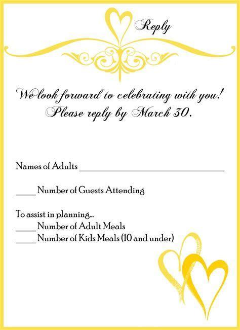 invitation card : wedding invitation reply card wording