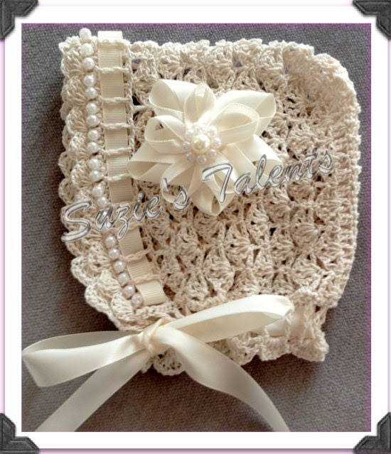 PATTERN PT30- Baby Bonnet with Beads, Crochet Baby Bonnet, Crochet Baby Hat With Beads