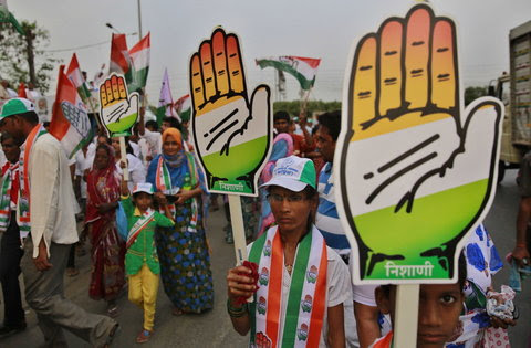 Supporters of Indian National Congress campaigning at a rally in Mumbai, Maharashtra, on Monday.