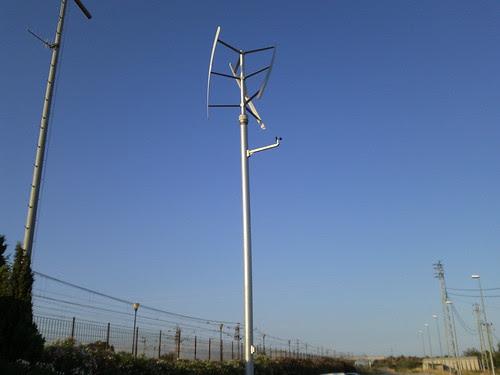 Estació de l'Aldea: aerogenerador instal·lat per Adif