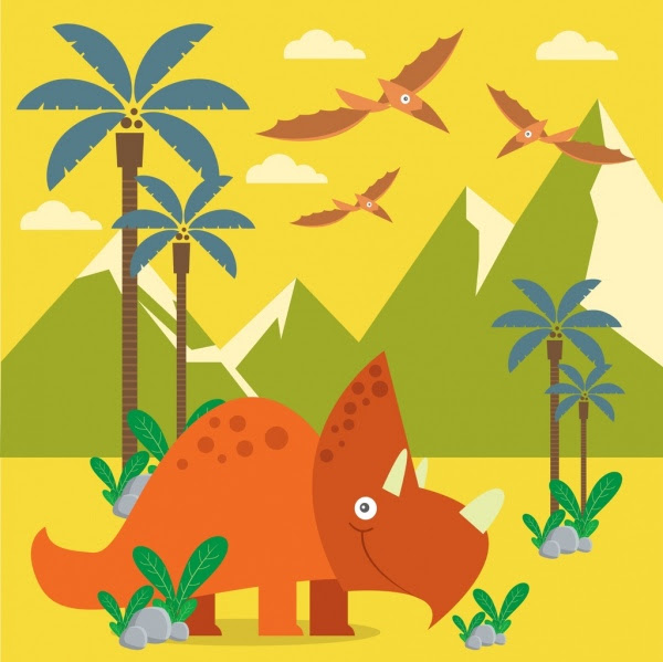 Prasejarah Gambar Dinosaurus Ikon Beraneka Warna Sketsa Vektor Icon
