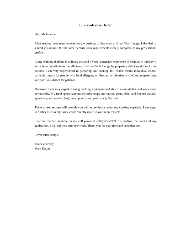 Cover Letter Sample Chef