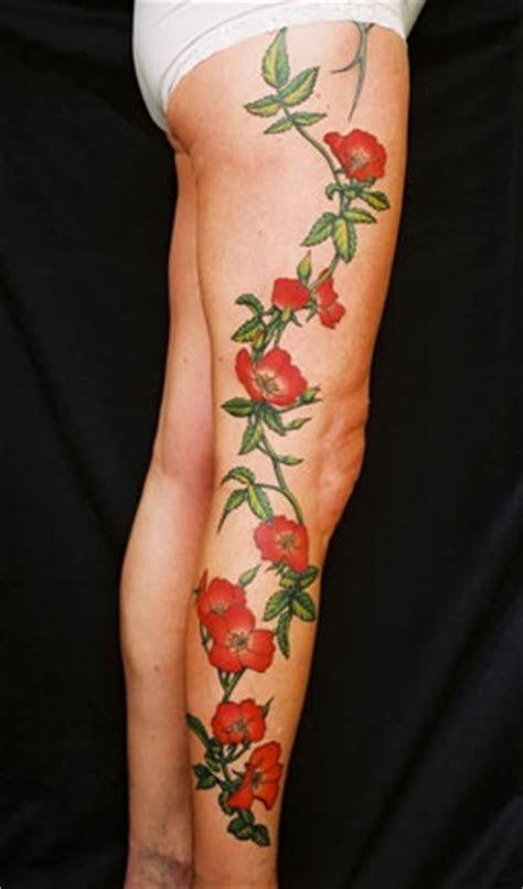 amazing red rose full leg tattoo tattoomagz tattoo