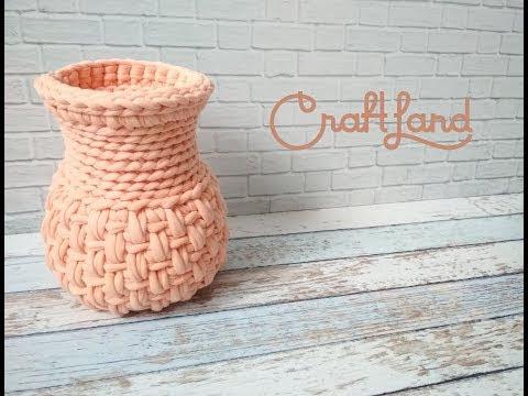 فيديو شرح طريقة عمل فازة ديكور للمنزل  بالخطوات Knitted yarn vase كروشيه