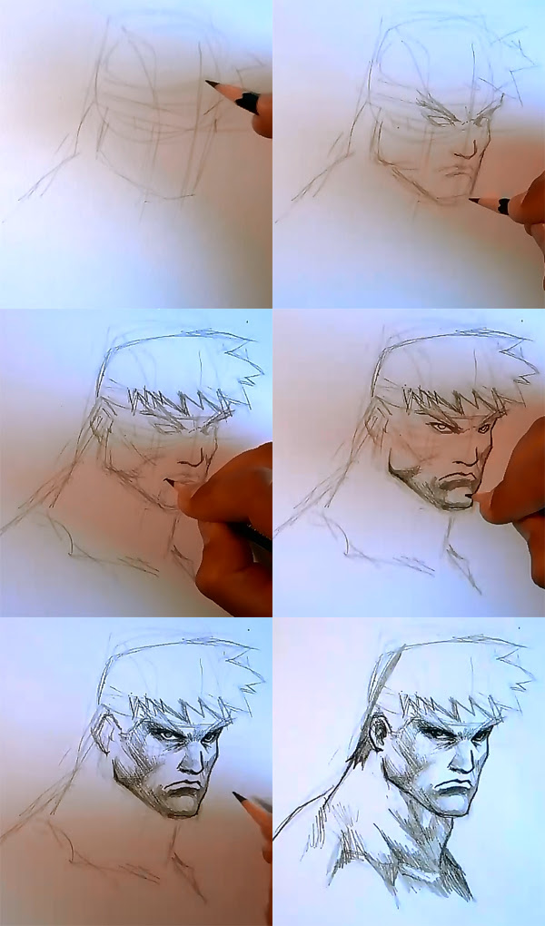 How to draw comics male hero face