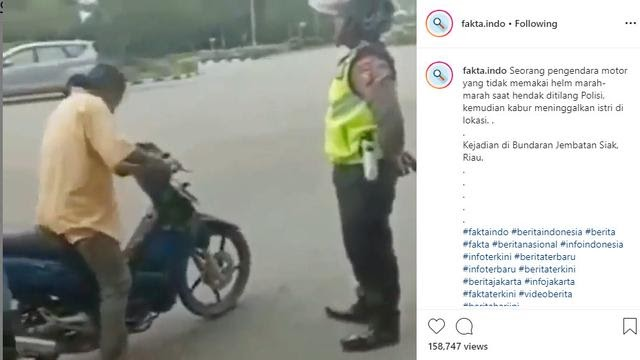 Pemotor Kabur Saat Hendak Ditilang, Istrinya Ketinggalan