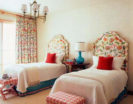 Gina Kates: turquoise and red   floral twin headboards, turquoise blue lamp, red pillows, pink ...