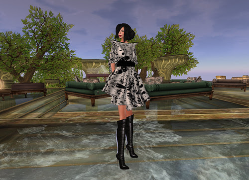black white lilly dress