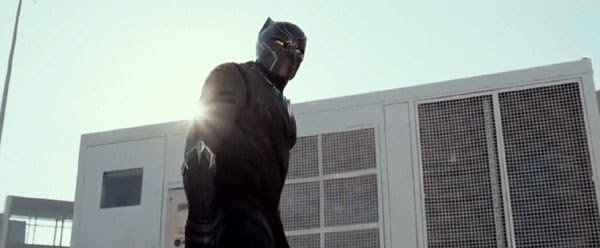 Black Panther (Chadwick Boseman) makes an appearance in CAPTAIN AMERICA: CIVIL WAR.