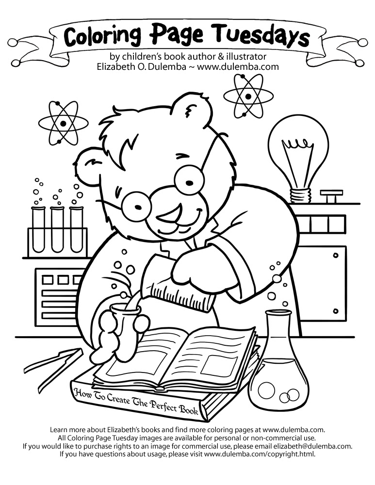 Coloring Page Tuesday - Science Bear!