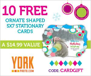 10 Free Ornate Shaped Custom Photo 5X7 Stationary Cards - Save $14.99!