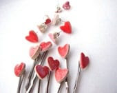 Heart bobby pins 2 cute red or pink glazed ceramic silver tone hair pins - damsontreepottery