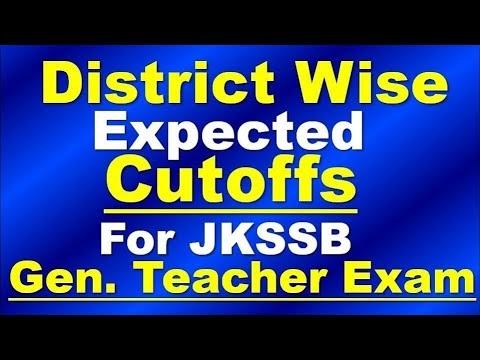 District wise Expected Cutoffs JKSSB General Teacher Exam