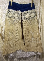 Handmade OOAK Deconstructed Crocheted Bohemian Skirt