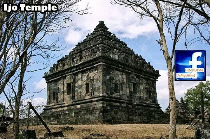 Ijo Temple  Candi Ijo Yogyakarta, Indonesia. The temple was built between 10th to 11th century CE during the Mataram Kingdom period.   The temple compound consists of several terraces. On the western part some temple ruins were discovered, most of them are being excavated. It was estimated that more than 10 Perwara or lesser temples ruins are still buried in this terraces.  The main temple compound located on the uppermost terrace, consists of a large main temple facing west and three perwara temples on front of it facing east. The three perwara temples was meant to honor Trimurti, the three highest gods in Hinduism: Brahma, Vishnu and Shiva. All of these three temples having cella or room and there are windows perforated in the rhombus shape. The roof is arranged in three stages adorned with rows of ratnas.  The main temple has square ground plan. The entrance into the garbhagriha (main room) is located on west side, flanked with two false window, or niches adorned with kala-makara decoration. On the north, east, and southern walls there are three niches on each side also adorned in kala-makara style. The center niche are slightly higher than other two flanking niches. These niches are now empty, probably these niches once contains Hindu murti (statues).  A flight of stairs flanked with two makaras were designed to reach the main door that is 1.2 meters above the ground. On top of the door there are carving of Kala's head connected to makaras body on each side of the gate. These kala-makara pattern is commonly found in temples of ancient Java. Inside the makara's mouth there are small parrots carved.  Inside the main chamber there is a large linga and yoni adorned with naga serpent. The union of phallic linga and yoni symbolize the cosmic sacred union between Shiva and Parvati as his shakti. There are three niches on each sides of inner wall in the room, each niches flanked with a pair of devata, Hindu lesser gods and goddesses flying toward the niches.  The roof of main temple is arranged in three ascending terraces decreased in size to the top forming stepped pyramid. On each sides there are 3 ratnas on each step, a larger ratna crowning the roof. On the margin between temple body and the roof adorned with floral patterns and gana (dwarf). On the edge of the roof there are antefixes with floral frames, inside the antefix there are images of Hindu gods bust with hand position holding flowers