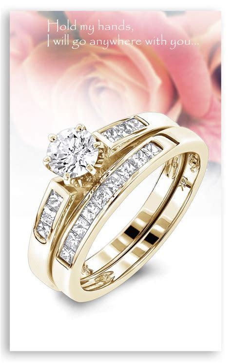14K Gold Princess Cut and Round Diamond Engagement Ring