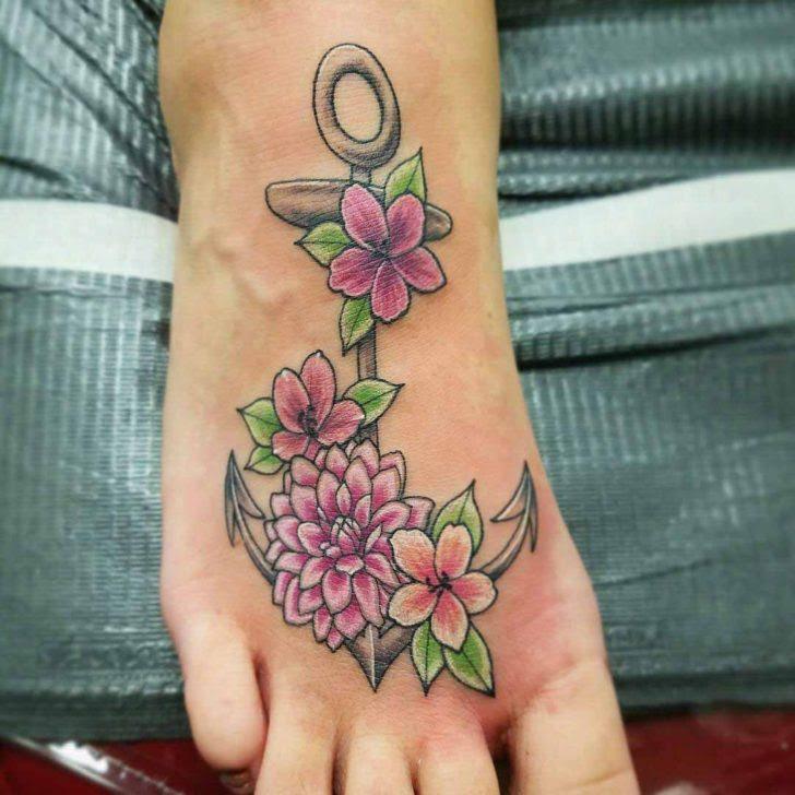 Anchor Flowers Tattoo On Foot Best Tattoo Ideas Gallery