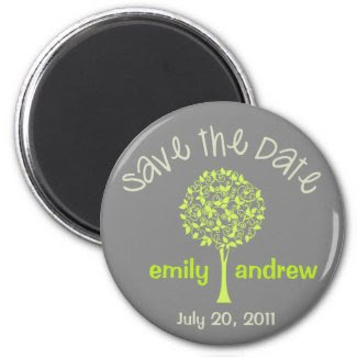 Save the Date Green/Gray Tree Magnet magnet