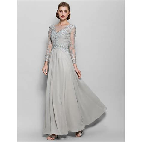 A line Mother of the Bride Dress   Silver Floor length