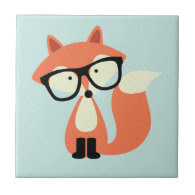 Cute Hipster Red Fox Ceramic Tile