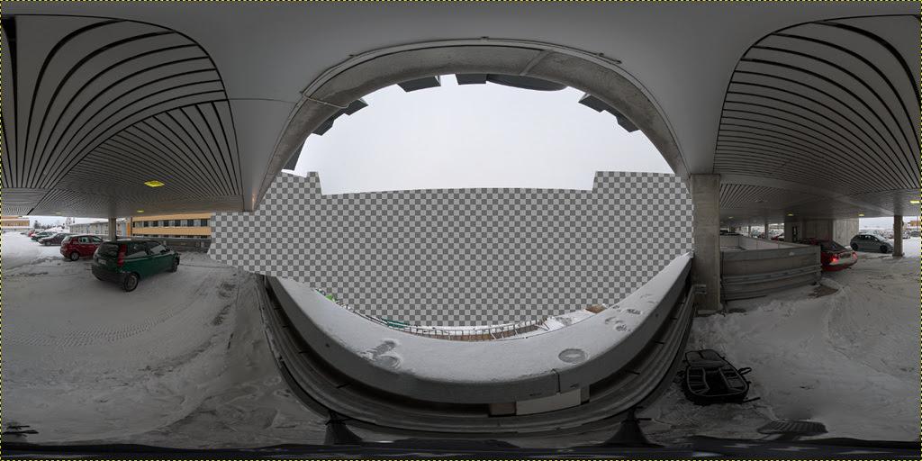Kuopion torityömaan pallopanoraaman kalansilmällä kuvattu osio
