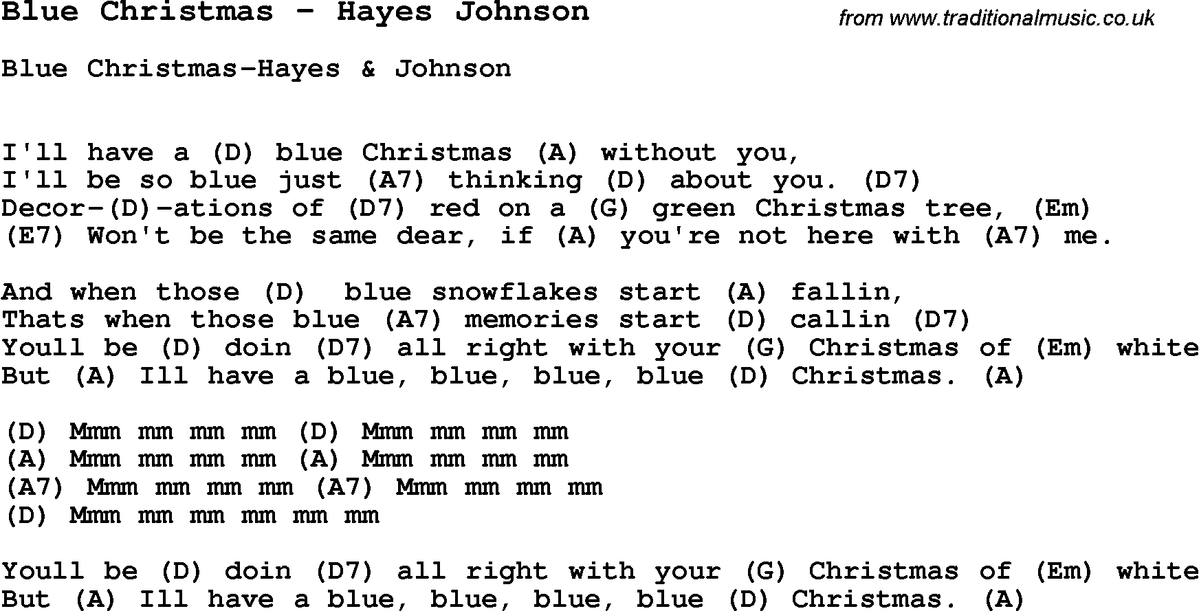 Blue Christmas Chords 2015confession