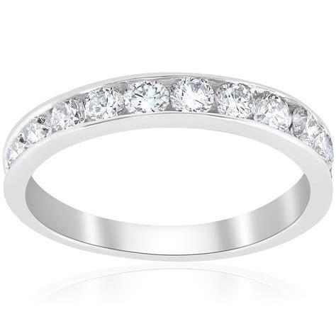 1ct Diamond Wedding Ring 14K White Gold Channel Set Womens