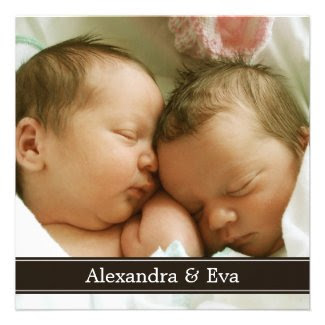 Twin Babies Photo Birth Announcement