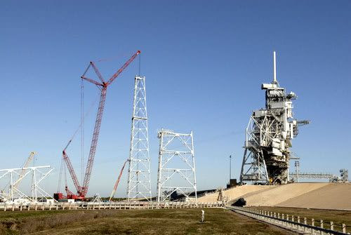 Construction nears completion on the second of three new lightning towers at Launch Pad 39-B at Kennedy Space Center, Florida, on January 22, 2009.