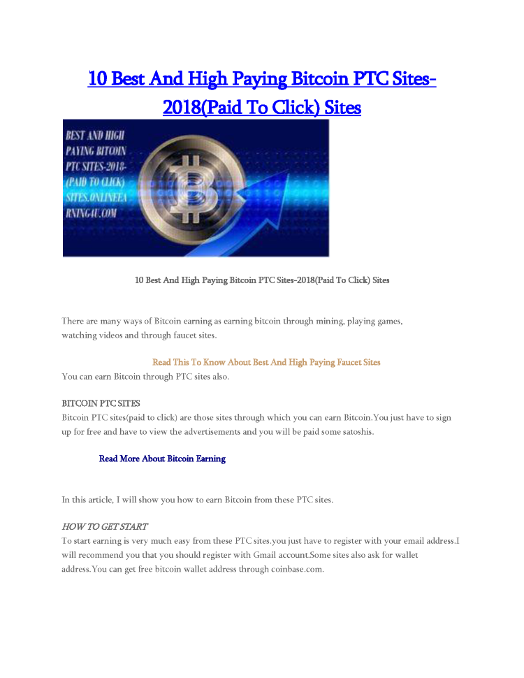 10 Best And High Paying Bitcoin Ptc Sites 2018 Paid To Click Site -