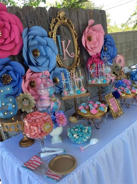 beautiful pink  blue garden party love