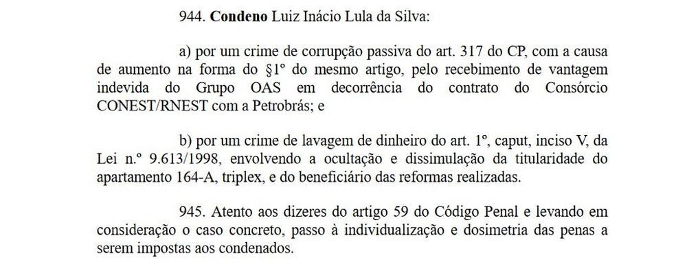 Os crimes a que Lula foi condenado (Foto: Reprodução)