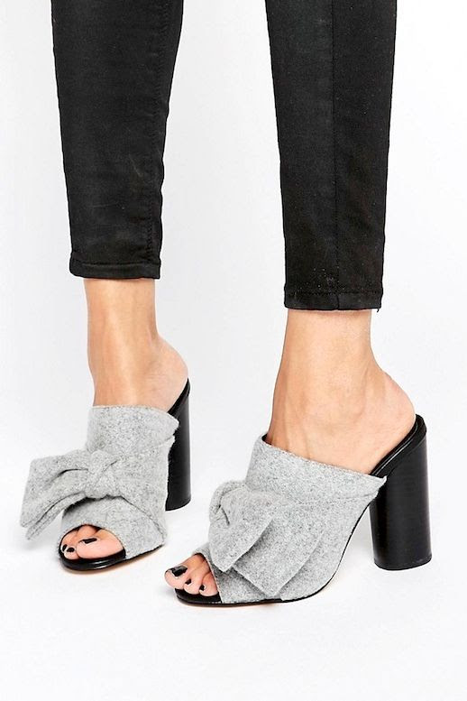 Le Fashion Blog Fall Style Black Jeans Light Grey Mule Heels With Bow Front Detail Via ASOS